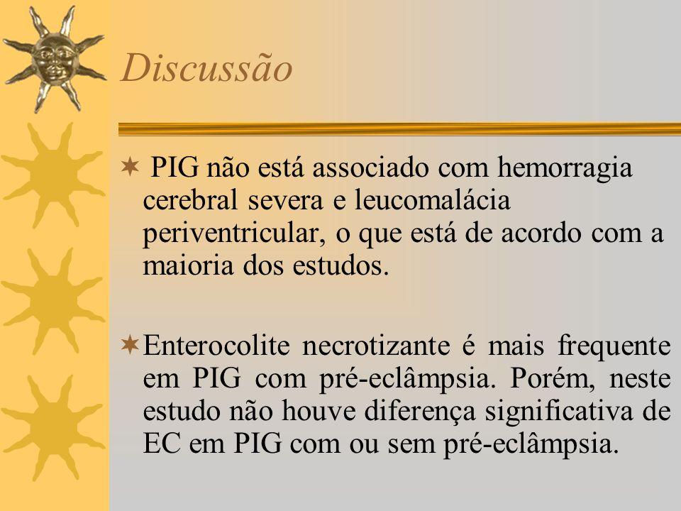 Discussão PIG não está associado com hemorragia cerebral severa e leucomalácia periventricular, o que está de acordo com a maioria dos estudos. Entero