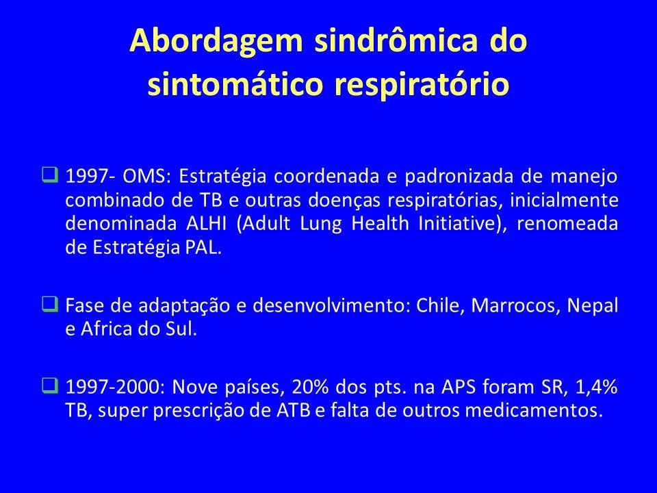 Abordagem sindrômica do sintomático respiratório 1997- OMS: Estratégia coordenada e padronizada de manejo combinado de TB e outras doenças respiratórias, inicialmente denominada ALHI (Adult Lung Health Initiative), renomeada de Estratégia PAL.