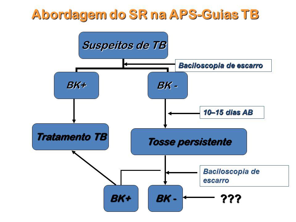 Tratamento TB Tratamento TB Tosse persistente BK+ Abordagem do SR na APS-Guias TB Baciloscopia de escarro BK - ??.