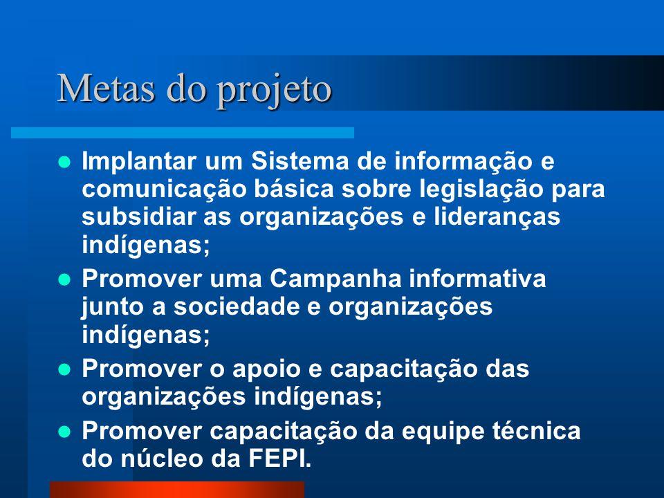 Metas do projeto Implantar um Sistema de informação e comunicação básica sobre legislação para subsidiar as organizações e lideranças indígenas; Promo