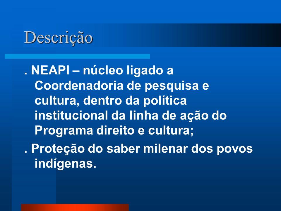 Descrição. NEAPI – núcleo ligado a Coordenadoria de pesquisa e cultura, dentro da política institucional da linha de ação do Programa direito e cultur