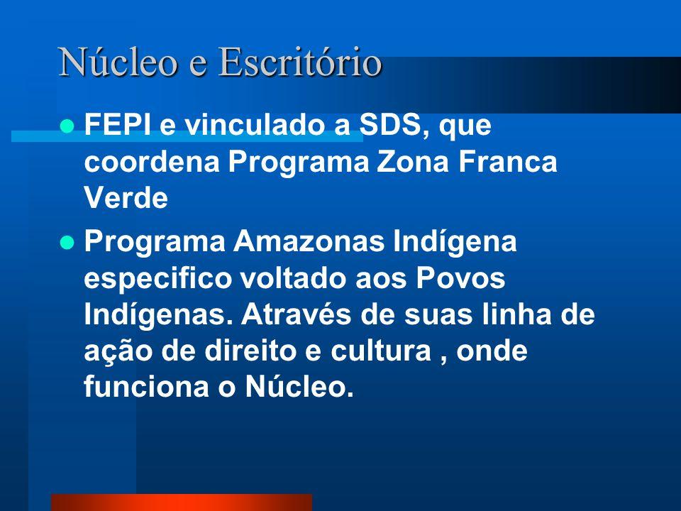 Núcleo e Escritório FEPI e vinculado a SDS, que coordena Programa Zona Franca Verde Programa Amazonas Indígena especifico voltado aos Povos Indígenas.