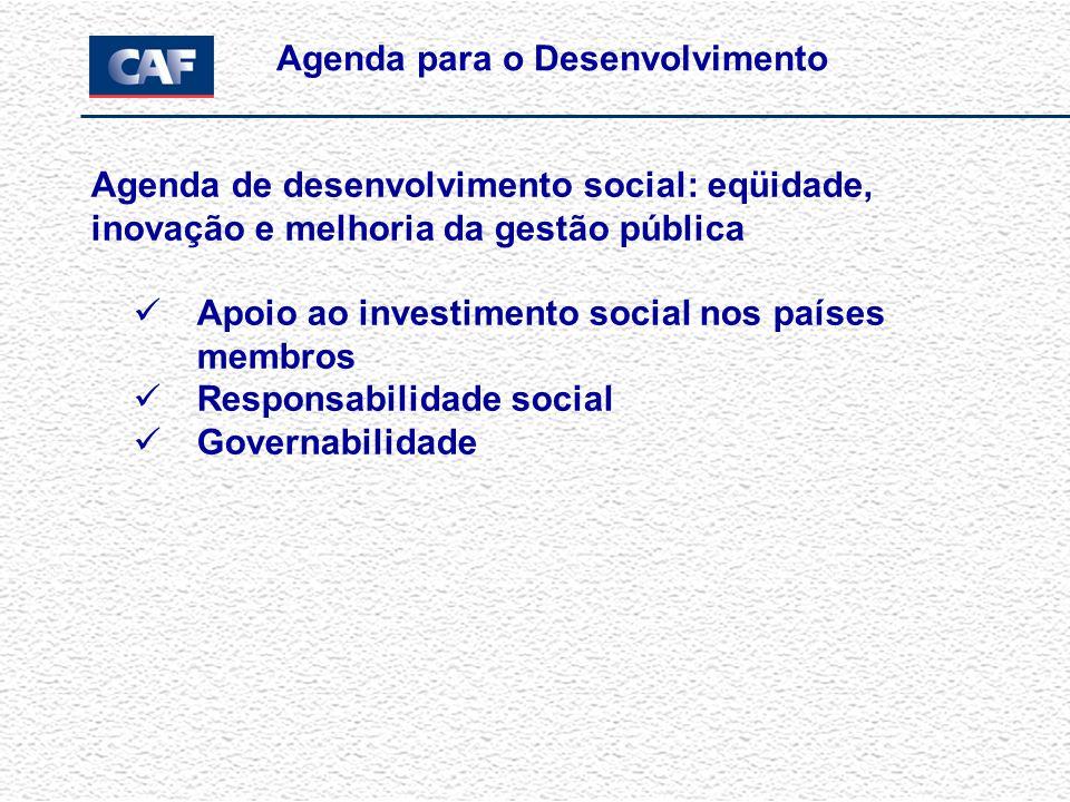 Agenda de competitividade, produtividade e acesso ao capital: Programa de Apoio à Competitividade Apoio integral à MIPyME Programa de Governo Corporativo Programa de Apoio à Investigação em Temas de Desenvolvimento Programa de Apoio à Maior Inserção Internacional Agenda para o Desenvolvimento