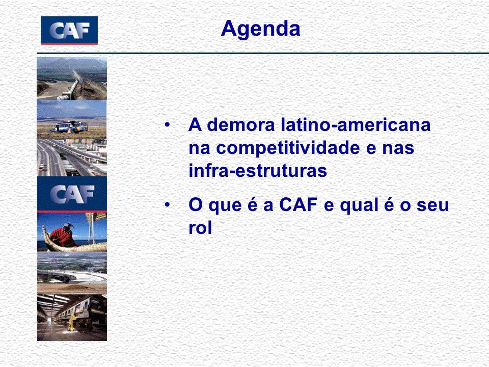 Agenda A demora latino-americana na competitividade e nas infra-estruturas O que é a CAF e qual é o seu rol