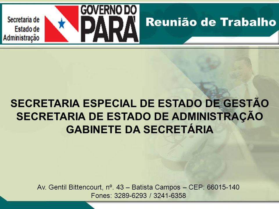 Reunião de Trabalho SECRETARIA ESPECIAL DE ESTADO DE GESTÃO SECRETARIA DE ESTADO DE ADMINISTRAÇÃO GABINETE DA SECRETÁRIA Av. Gentil Bittencourt, nº. 4