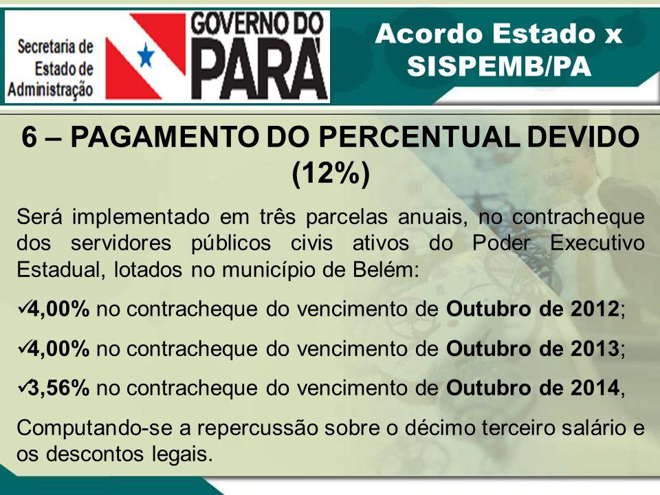 6 – PAGAMENTO DO PERCENTUAL DEVIDO (12%) Será implementado em três parcelas anuais, no contracheque dos servidores públicos civis ativos do Poder Exec