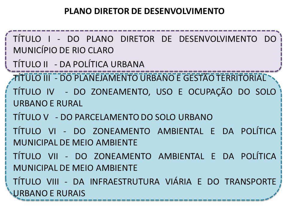PLANO DIRETOR DE DESENVOLVIMENTO TÍTULO I - DO PLANO DIRETOR DE DESENVOLVIMENTO DO MUNICÍPIO DE RIO CLARO TÍTULO II - DA POLÍTICA URBANA TÍTULO III - DO PLANEJAMENTO URBANO E GESTÃO TERRITORIAL TÍTULO IV - DO ZONEAMENTO, USO E OCUPAÇÃO DO SOLO URBANO E RURAL TÍTULO V - DO PARCELAMENTO DO SOLO URBANO TÍTULO VI - DO ZONEAMENTO AMBIENTAL E DA POLÍTICA MUNICIPAL DE MEIO AMBIENTE TÍTULO VII - DO ZONEAMENTO AMBIENTAL E DA POLÍTICA MUNICIPAL DE MEIO AMBIENTE TÍTULO VIII - DA INFRAESTRUTURA VIÁRIA E DO TRANSPORTE URBANO E RURAIS