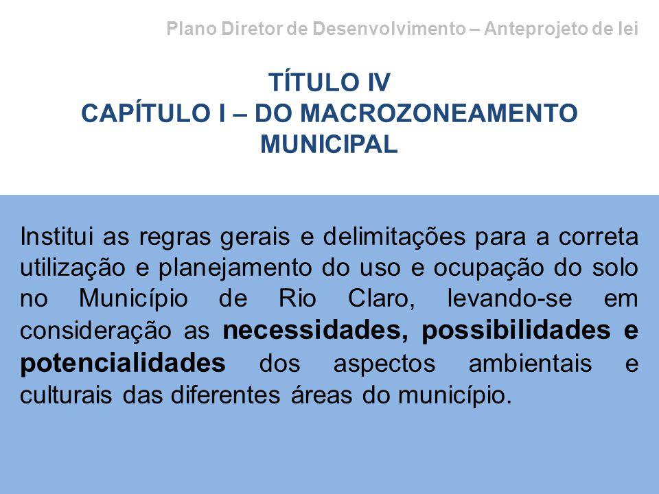 Plano Diretor de Desenvolvimento – Anteprojeto de lei TÍTULO IV CAPÍTULO I – DO MACROZONEAMENTO MUNICIPAL Institui as regras gerais e delimitações par