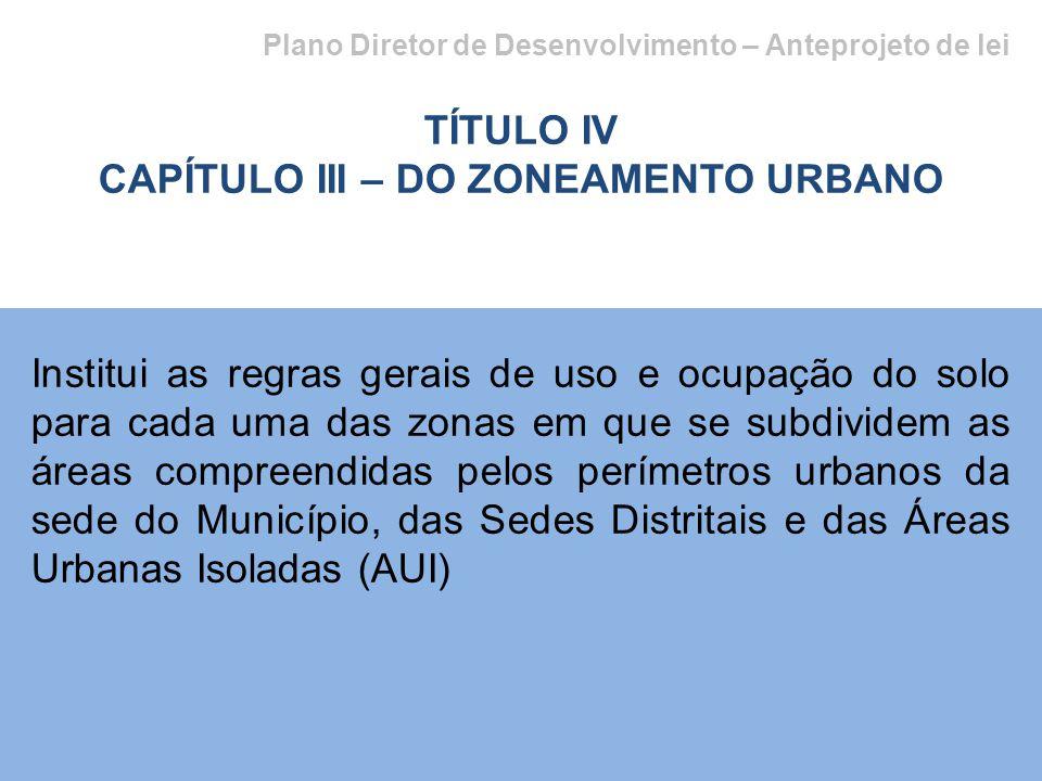 Plano Diretor de Desenvolvimento – Anteprojeto de lei TÍTULO IV CAPÍTULO III – DO ZONEAMENTO URBANO Institui as regras gerais de uso e ocupação do solo para cada uma das zonas em que se subdividem as áreas compreendidas pelos perímetros urbanos da sede do Município, das Sedes Distritais e das Áreas Urbanas Isoladas (AUI)