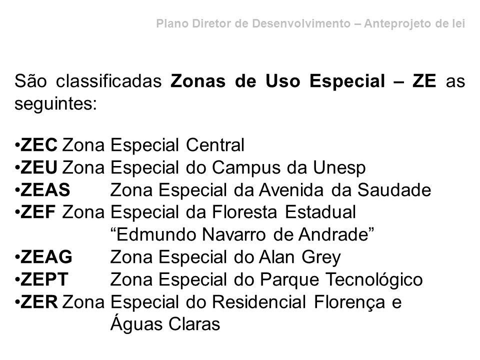 Plano Diretor de Desenvolvimento – Anteprojeto de lei São classificadas Zonas de Uso Especial – ZE as seguintes: ZECZona Especial Central ZEUZona Espe