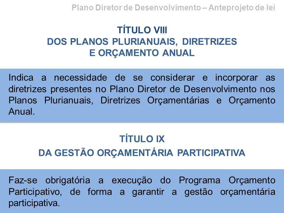 Plano Diretor de Desenvolvimento – Anteprojeto de lei TÍTULO VIII DOS PLANOS PLURIANUAIS, DIRETRIZES E ORÇAMENTO ANUAL Indica a necessidade de se cons