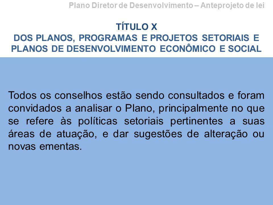 Plano Diretor de Desenvolvimento – Anteprojeto de lei TÍTULO X DOS PLANOS, PROGRAMAS E PROJETOS SETORIAIS E PLANOS DE DESENVOLVIMENTO ECONÔMICO E SOCI