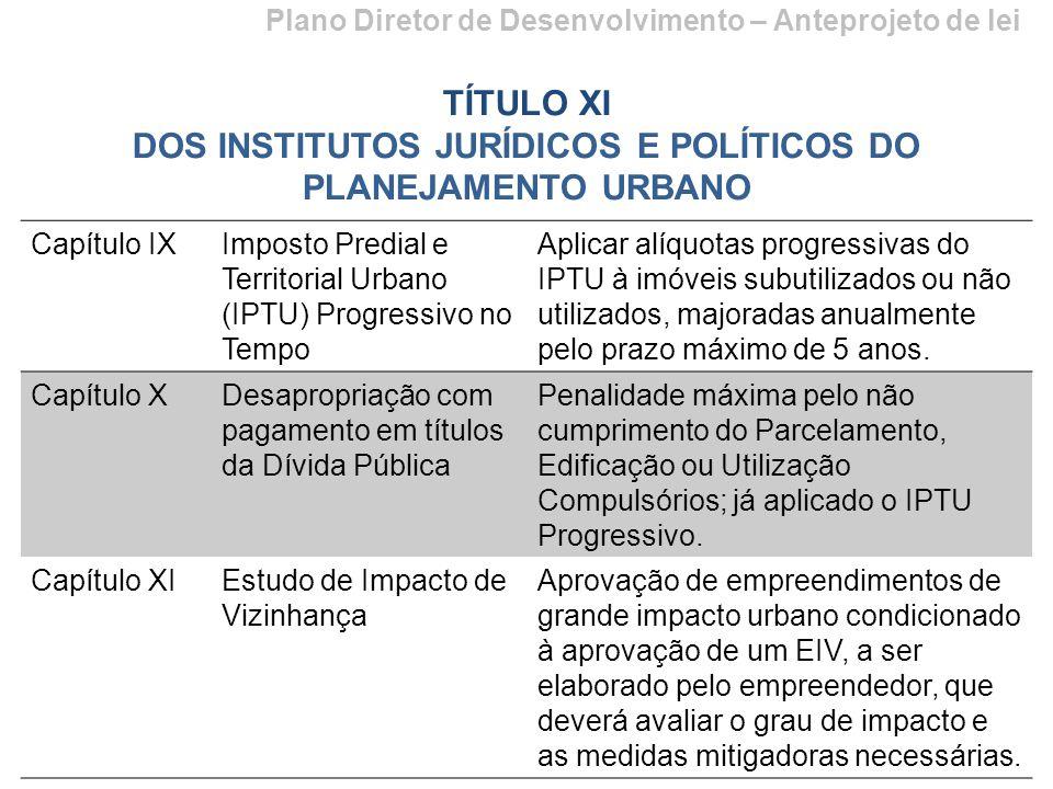 Plano Diretor de Desenvolvimento – Anteprojeto de lei TÍTULO XI DOS INSTITUTOS JURÍDICOS E POLÍTICOS DO PLANEJAMENTO URBANO Capítulo IXImposto Predial