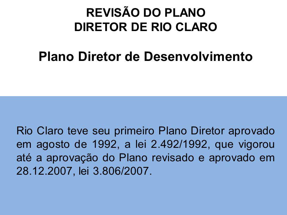 REVISÃO DO PLANO DIRETOR DE RIO CLARO Plano Diretor de Desenvolvimento Rio Claro teve seu primeiro Plano Diretor aprovado em agosto de 1992, a lei 2.492/1992, que vigorou até a aprovação do Plano revisado e aprovado em 28.12.2007, lei 3.806/2007.