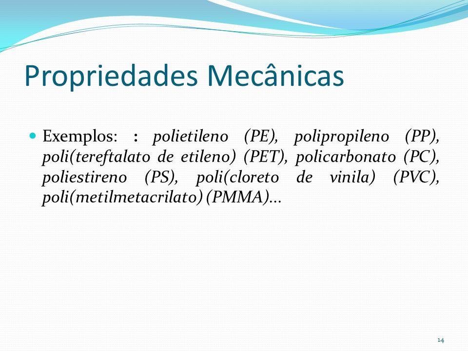 Propriedades Mecânicas Exemplos: : polietileno (PE), polipropileno (PP), poli(tereftalato de etileno) (PET), policarbonato (PC), poliestireno (PS), po