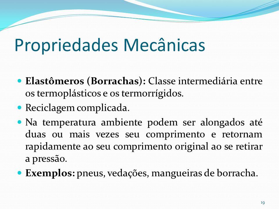 Propriedades Mecânicas Elastômeros (Borrachas): Classe intermediária entre os termoplásticos e os termorrígidos. Reciclagem complicada. Na temperatura