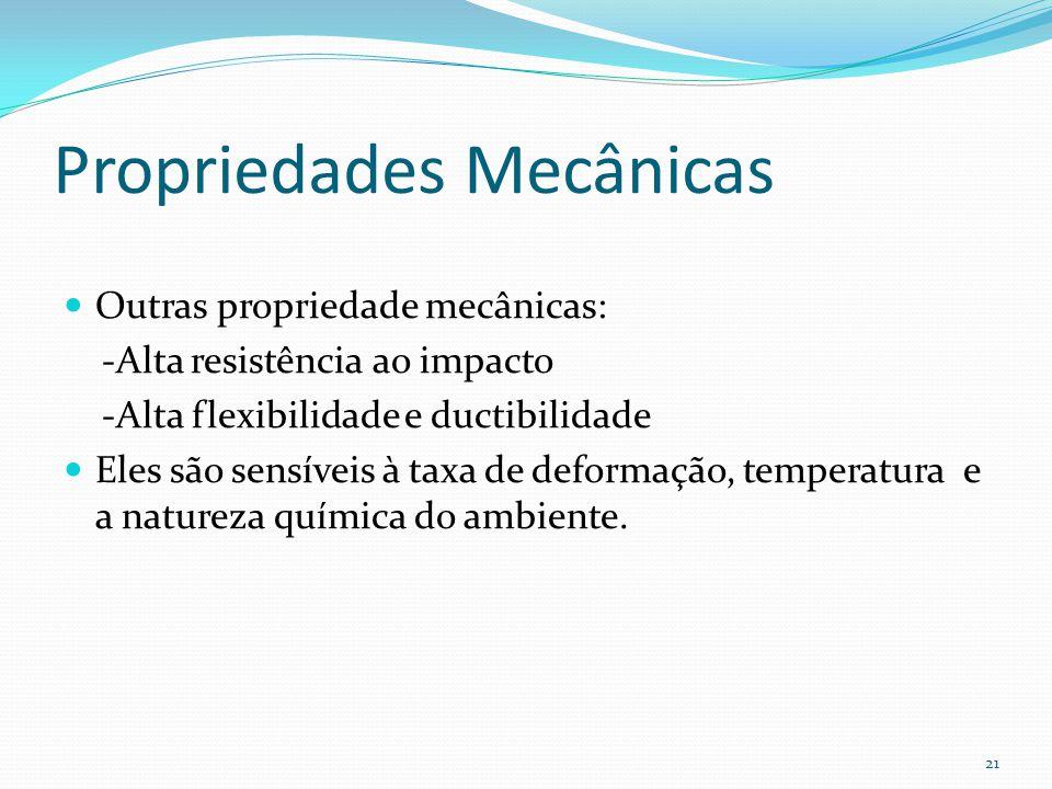 Propriedades Mecânicas Outras propriedade mecânicas: -Alta resistência ao impacto -Alta flexibilidade e ductibilidade Eles são sensíveis à taxa de def