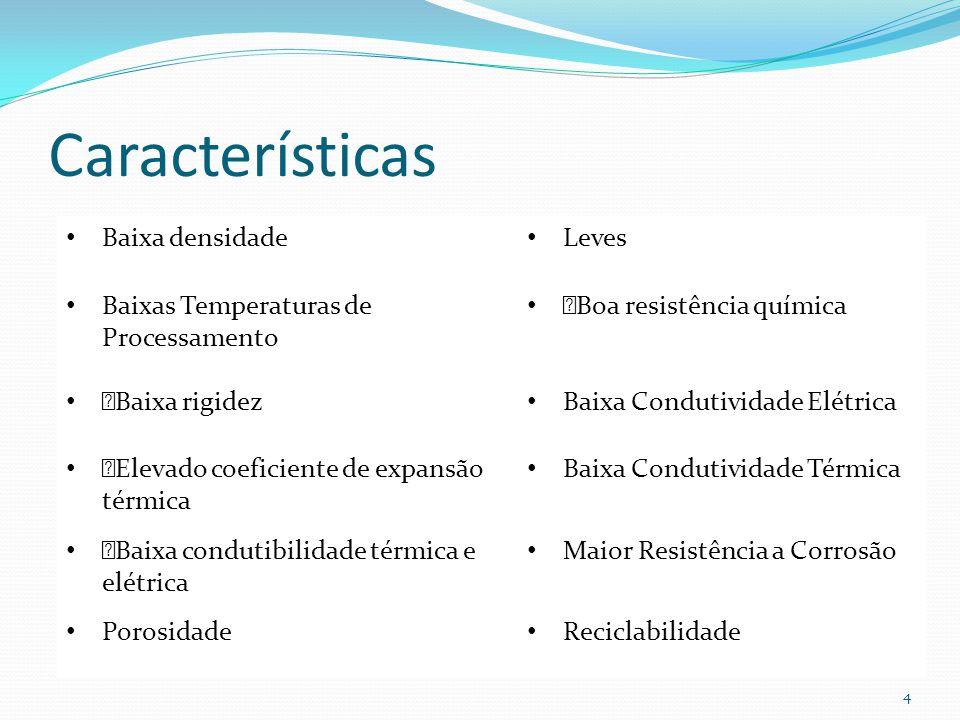 Características 4 Baixa densidade Leves Baixas Temperaturas de Processamento ™Boa resistência química ™Baixa rigidez Baixa Condutividade Elétrica ™Ele