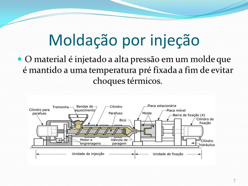 Moldação por injeção O material é injetado a alta pressão em um molde que é mantido a uma temperatura pré fixada a fim de evitar choques térmicos. 7