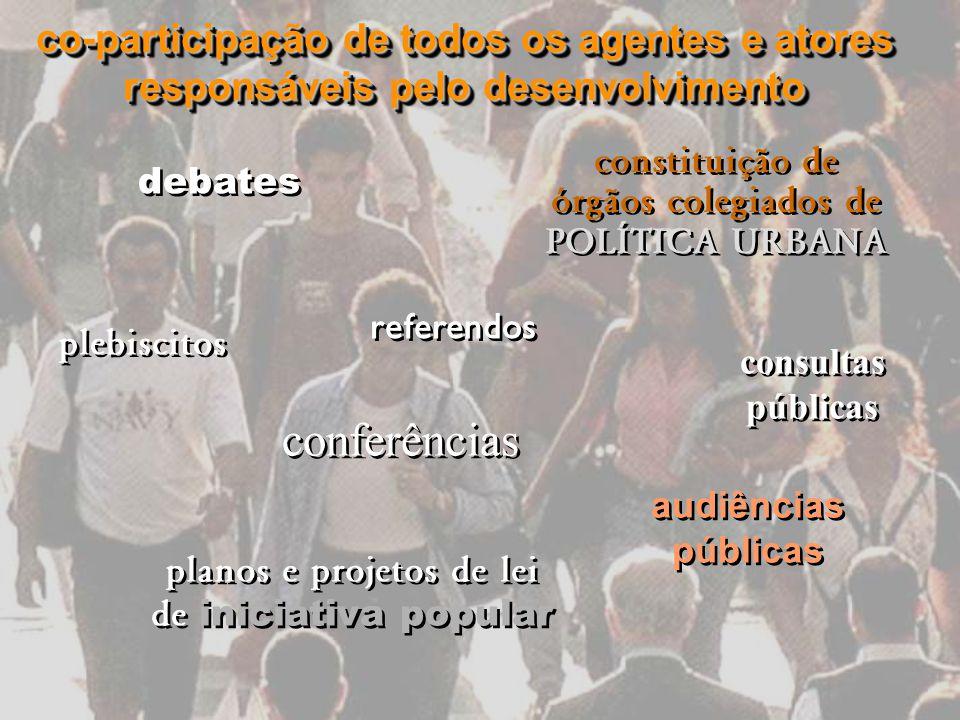 constituição de órgãos colegiados de POLÍTICA URBANA debates conferências consultas públicas audiências públicas planos e projetos de lei de iniciativ