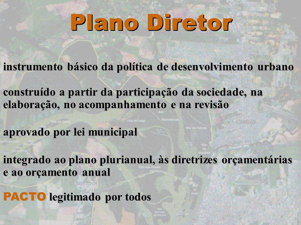 Plano Diretor instrumento básico da política de desenvolvimento urbano construído a partir da participação da sociedade, na elaboração, no acompanhame