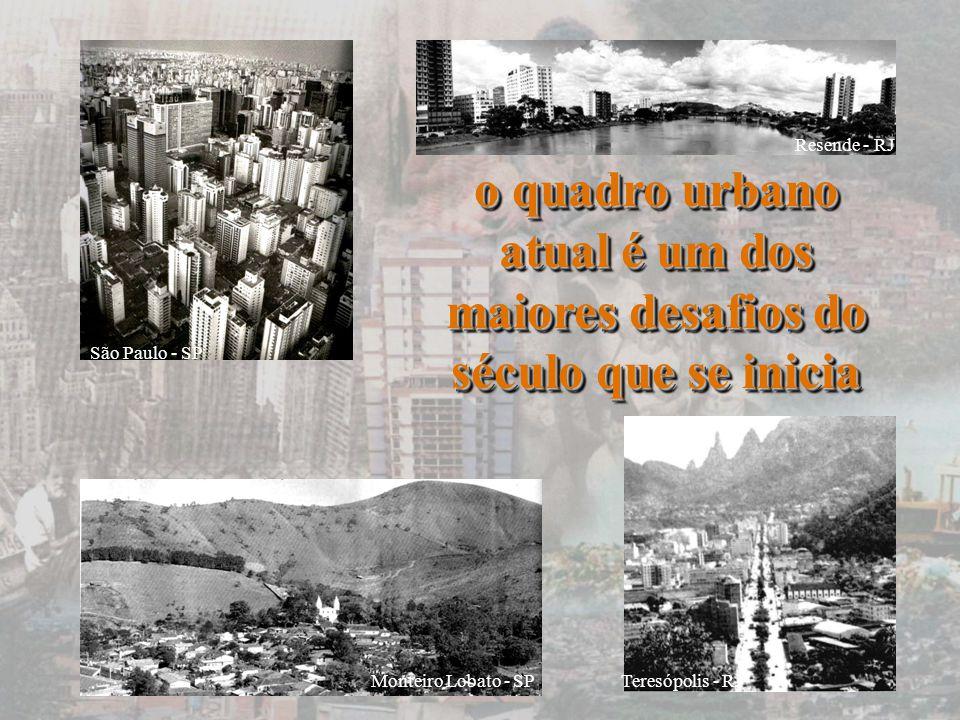 o quadro urbano atual é um dos maiores desafios do século que se inicia São Paulo - SP Resende - RJ Teresópolis - RJ Monteiro Lobato - SP