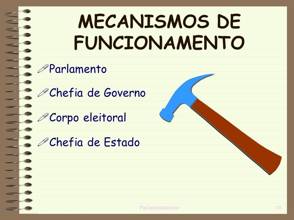 Parlamentarismo16 MECANISMOS DE FUNCIONAMENTO Parlamento Chefia de Governo Corpo eleitoral Chefia de Estado
