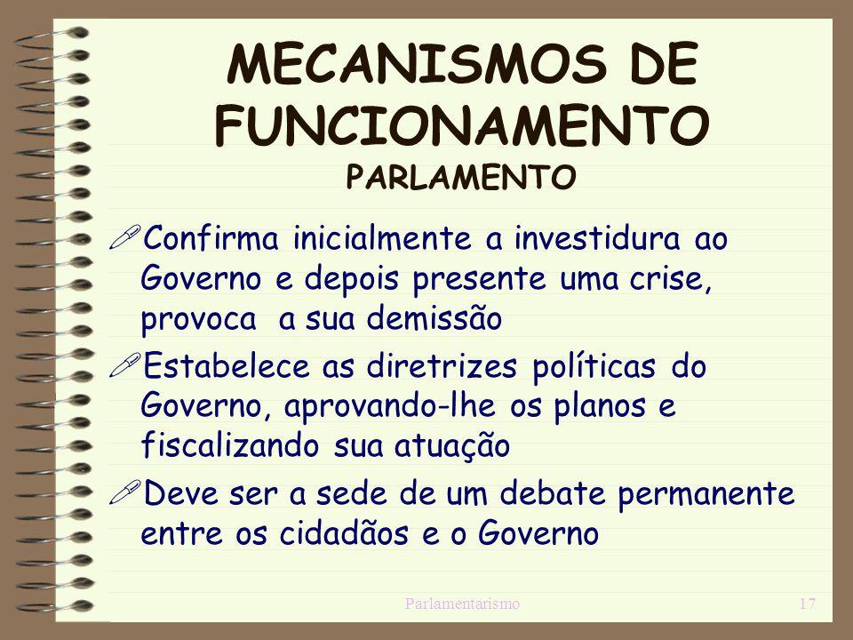 Parlamentarismo17 MECANISMOS DE FUNCIONAMENTO PARLAMENTO Confirma inicialmente a investidura ao Governo e depois presente uma crise, provoca a sua dem