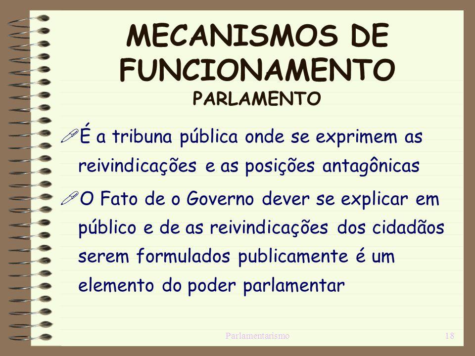 Parlamentarismo18 MECANISMOS DE FUNCIONAMENTO PARLAMENTO É a tribuna pública onde se exprimem as reivindicações e as posições antagônicas O Fato de o