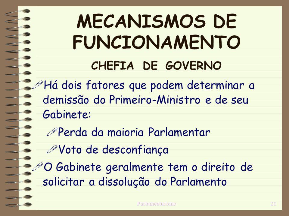 Parlamentarismo20 MECANISMOS DE FUNCIONAMENTO CHEFIA DE GOVERNO Há dois fatores que podem determinar a demissão do Primeiro-Ministro e de seu Gabinete