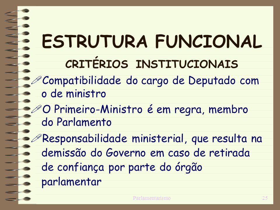 Parlamentarismo25 ESTRUTURA FUNCIONAL CRITÉRIOS INSTITUCIONAIS Compatibilidade do cargo de Deputado com o de ministro O Primeiro-Ministro é em regra,