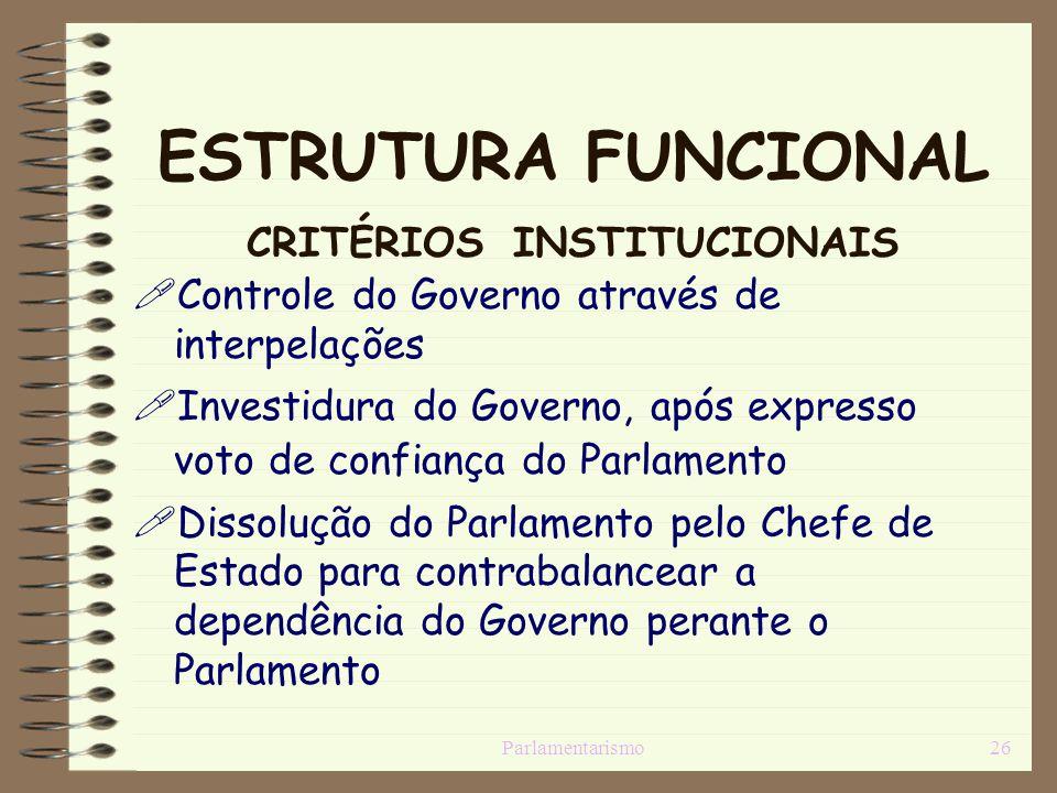 Parlamentarismo26 ESTRUTURA FUNCIONAL CRITÉRIOS INSTITUCIONAIS Controle do Governo através de interpelações Investidura do Governo, após expresso voto