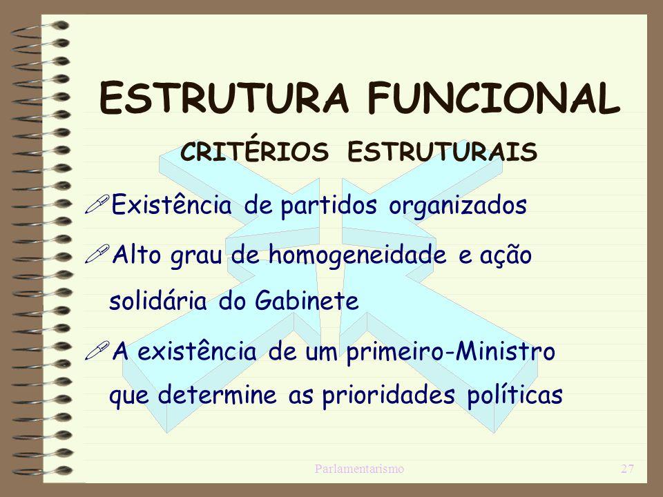Parlamentarismo27 ESTRUTURA FUNCIONAL CRITÉRIOS ESTRUTURAIS Existência de partidos organizados Alto grau de homogeneidade e ação solidária do Gabinete