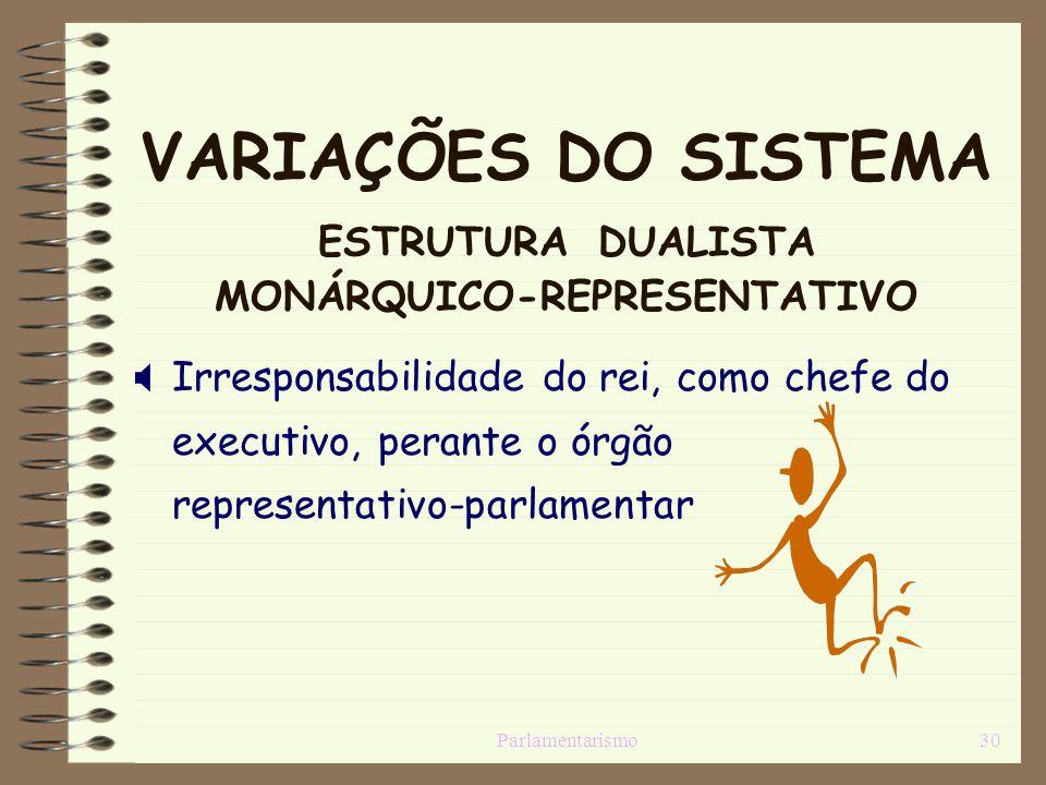 Parlamentarismo30 VARIAÇÕES DO SISTEMA ESTRUTURA DUALISTA MONÁRQUICO-REPRESENTATIVO Irresponsabilidade do rei, como chefe do executivo, perante o órgã