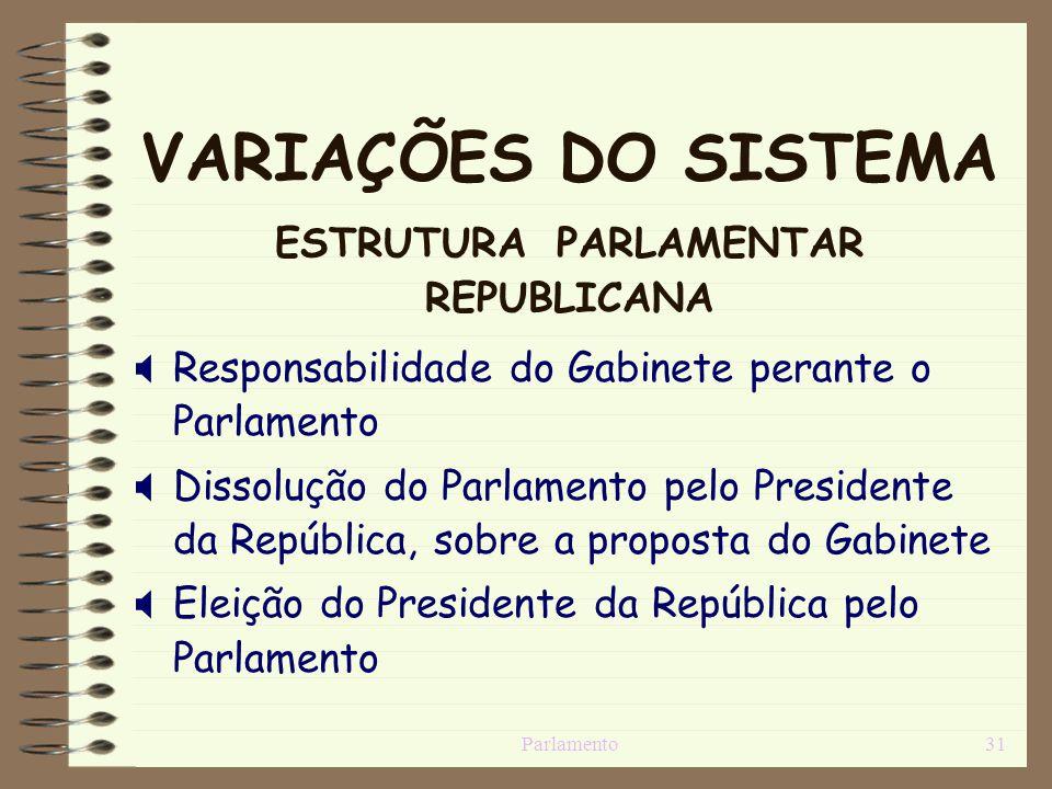 Parlamento31 VARIAÇÕES DO SISTEMA ESTRUTURA PARLAMENTAR REPUBLICANA Responsabilidade do Gabinete perante o Parlamento Dissolução do Parlamento pelo Pr