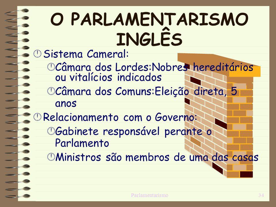 Parlamentarismo34 O PARLAMENTARISMO INGLÊS Sistema Cameral: Câmara dos Lordes:Nobres hereditários ou vitalícios indicados Câmara dos Comuns:Eleição di