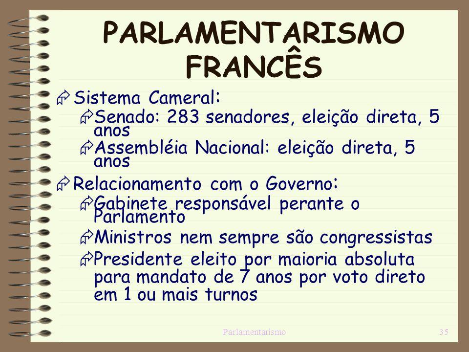 Parlamentarismo35 PARLAMENTARISMO FRANCÊS Sistema Cameral : Senado: 283 senadores, eleição direta, 5 anos Assembléia Nacional: eleição direta, 5 anos