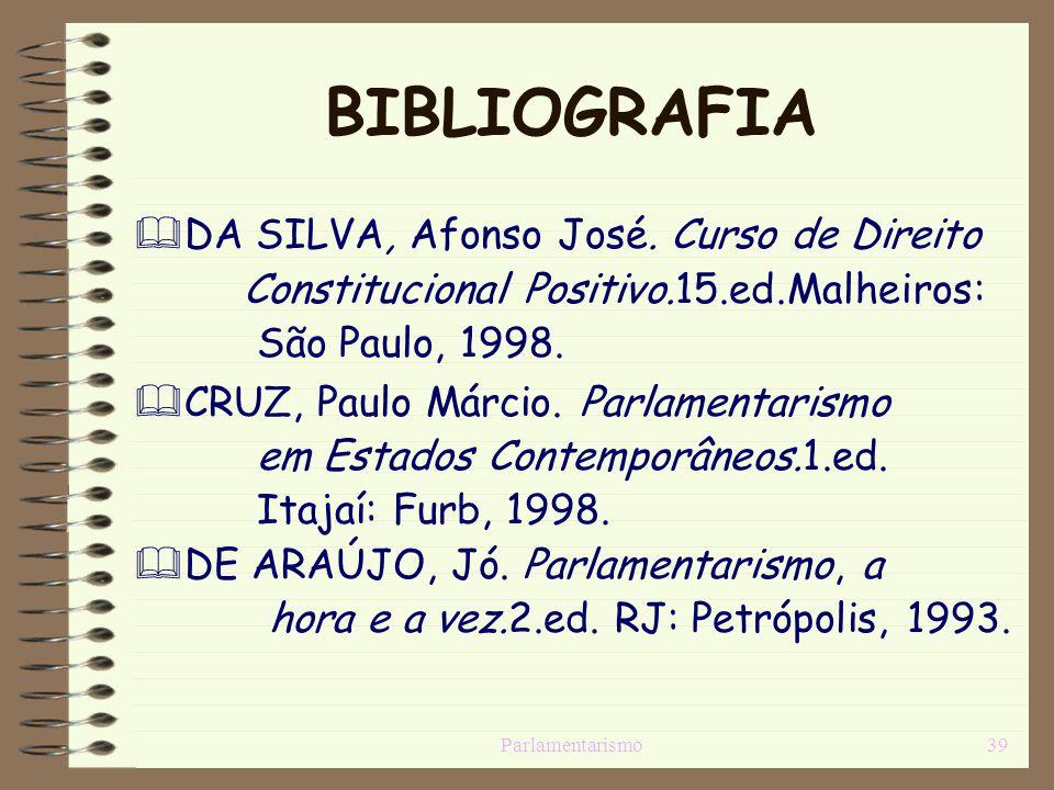 Parlamentarismo39 BIBLIOGRAFIA DA SILVA, Afonso José. Curso de Direito Constitucional Positivo.15.ed.Malheiros: São Paulo, 1998. CRUZ, Paulo Márcio. P