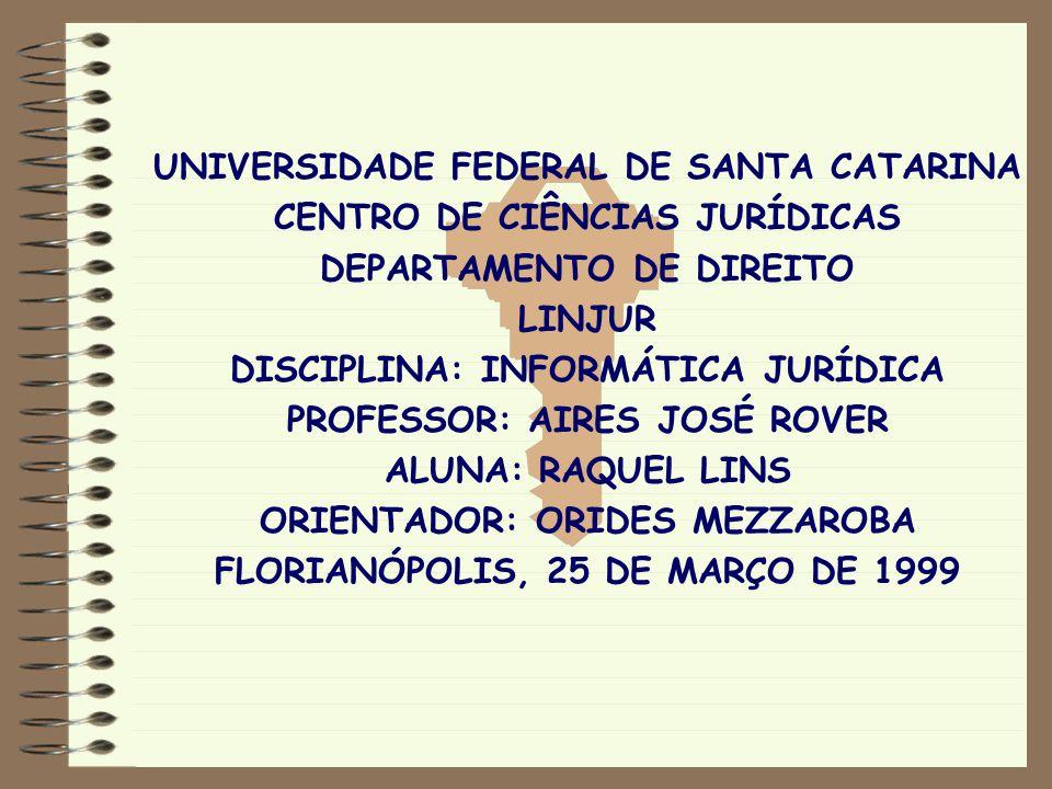 UNIVERSIDADE FEDERAL DE SANTA CATARINA CENTRO DE CIÊNCIAS JURÍDICAS DEPARTAMENTO DE DIREITO LINJUR DISCIPLINA: INFORMÁTICA JURÍDICA PROFESSOR: AIRES J