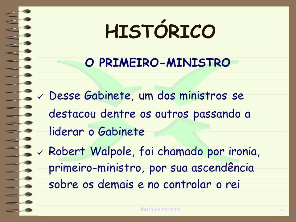 Parlamentarismo6 HISTÓRICO O PRIMEIRO-MINISTRO [Desse Gabinete, um dos ministros se destacou dentre os outros passando a liderar o Gabinete [Robert Wa