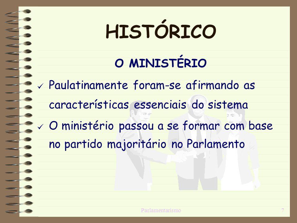 Parlamentarismo7 HISTÓRICO O MINISTÉRIO [Paulatinamente foram-se afirmando as características essenciais do sistema [O ministério passou a se formar c