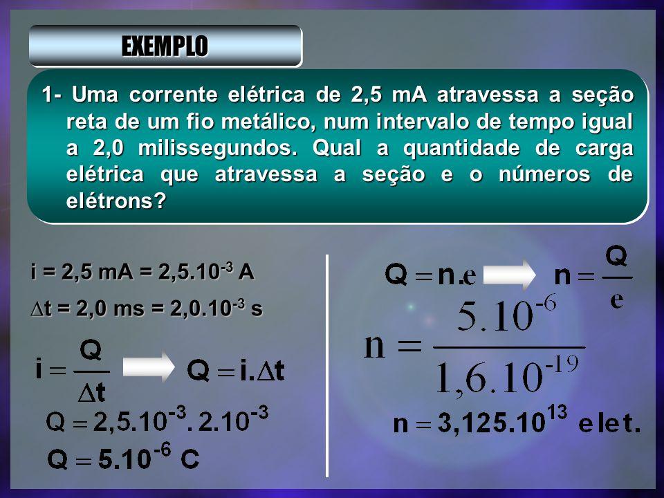 INTENSIDADE MÉDIA DA CORRENTE ELÉTRICA A intensidade da corrente elétrica e dada pela razão entre a quantidade de carga elétrica que atravessa uma sec