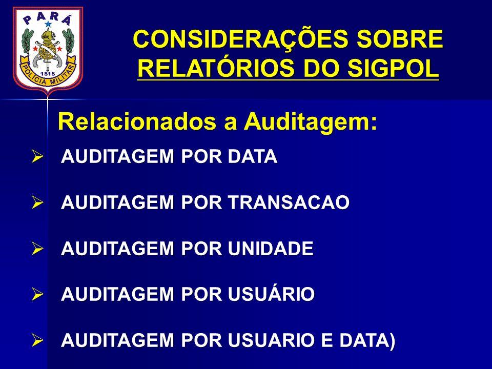 AUDITAGEM POR DATA AUDITAGEM POR DATA AUDITAGEM POR TRANSACAO AUDITAGEM POR TRANSACAO AUDITAGEM POR UNIDADE AUDITAGEM POR UNIDADE AUDITAGEM POR USUÁRIO AUDITAGEM POR USUÁRIO AUDITAGEM POR USUARIO E DATA) AUDITAGEM POR USUARIO E DATA) Relacionados a Auditagem: CONSIDERAÇÕES SOBRE RELATÓRIOS DO SIGPOL