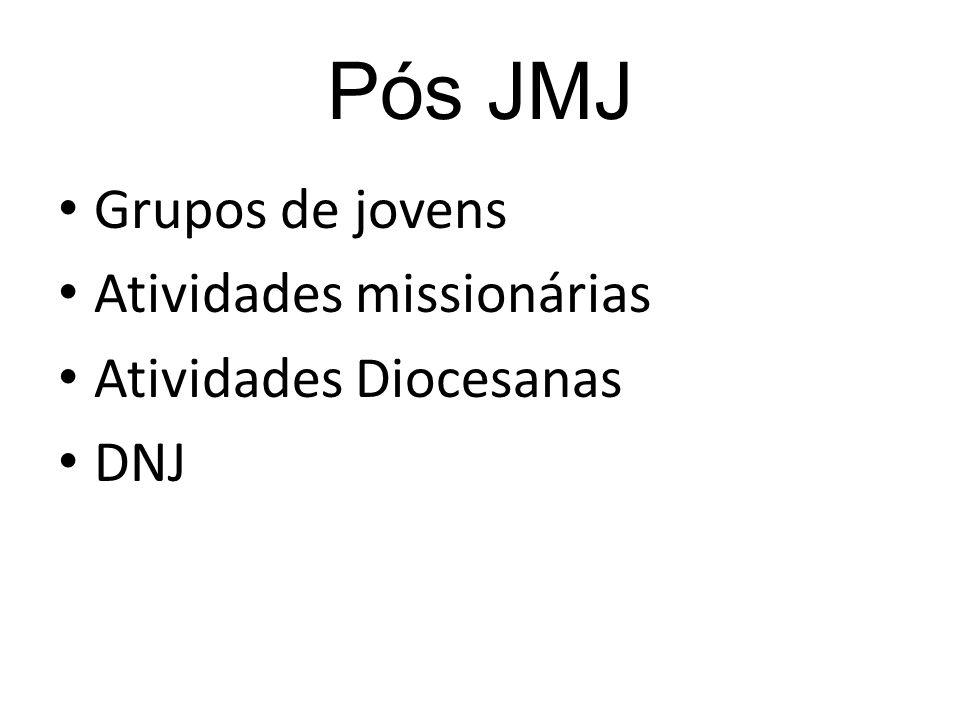 Pós JMJ Grupos de jovens Atividades missionárias Atividades Diocesanas DNJ