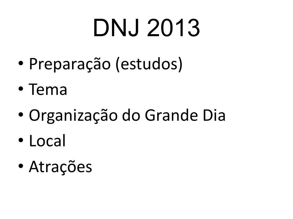 DNJ 2013 Preparação (estudos) Tema Organização do Grande Dia Local Atrações
