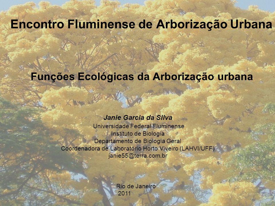 Encontro Fluminense de Arborização Urbana Funções Ecológicas da Arborização urbana Janie Garcia da Silva Universidade Federal Fluminense Instituto de