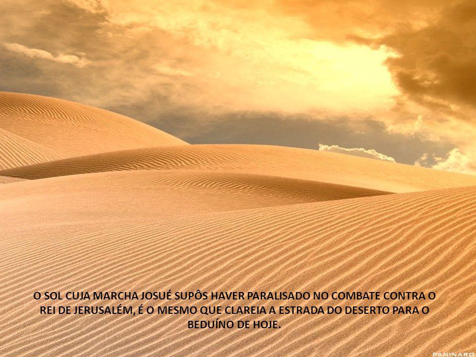 O SOL CUJA MARCHA JOSUÉ SUPÔS HAVER PARALISADO NO COMBATE CONTRA O REI DE JERUSALÉM, É O MESMO QUE CLAREIA A ESTRADA DO DESERTO PARA O BEDUÍNO DE HOJE.