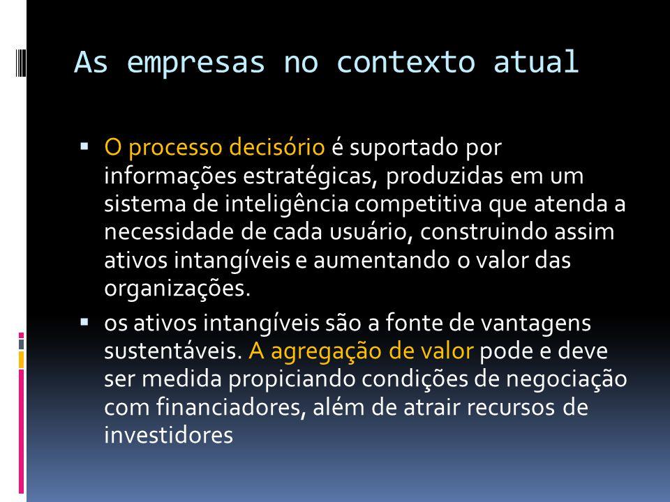 As empresas no contexto atual O processo decisório é suportado por informações estratégicas, produzidas em um sistema de inteligência competitiva que