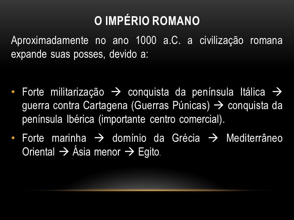 O IMPÉRIO ROMANO Aproximadamente no ano 1000 a.C. a civilização romana expande suas posses, devido a: Forte militarização conquista da península Itáli