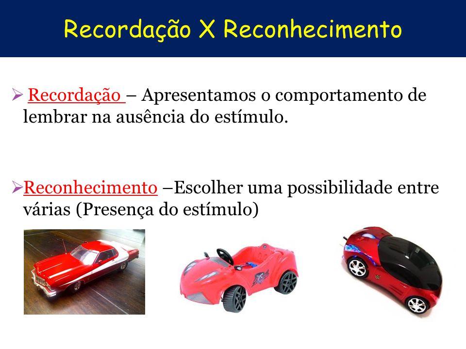 Recordação X Reconhecimento Recordação – Apresentamos o comportamento de lembrar na ausência do estímulo. Reconhecimento –Escolher uma possibilidade e